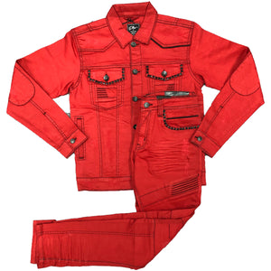 Red Coated Denim Set - Elite Premium Denim