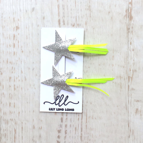 Yellow Shooting Star Hair Clips