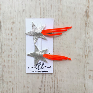 Orange Shooting Star Hair Clips