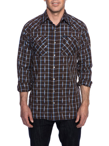 JACQUARD PLAID WESTERN SHIRT
