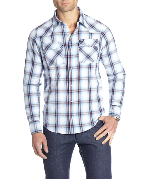 BLUE OMBRÉ PLAID WESTERN L/S SHIRT