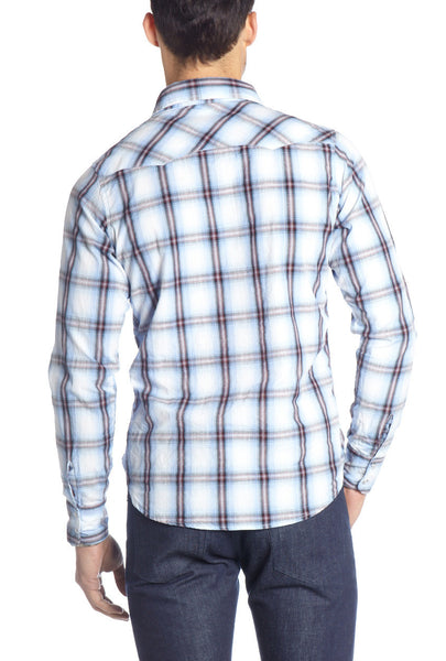 OMBRE PLAID WESTERN L/S SHIRT