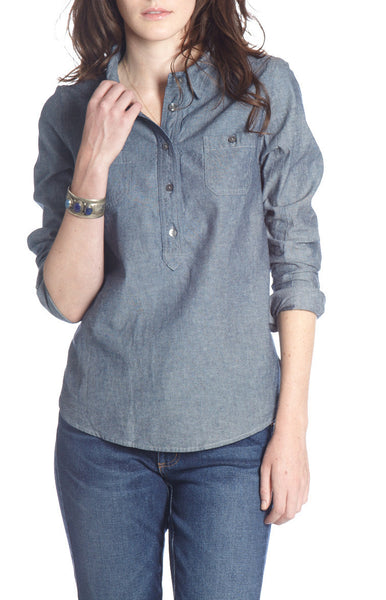 CHAMBRAY L/S POPOVER TOP