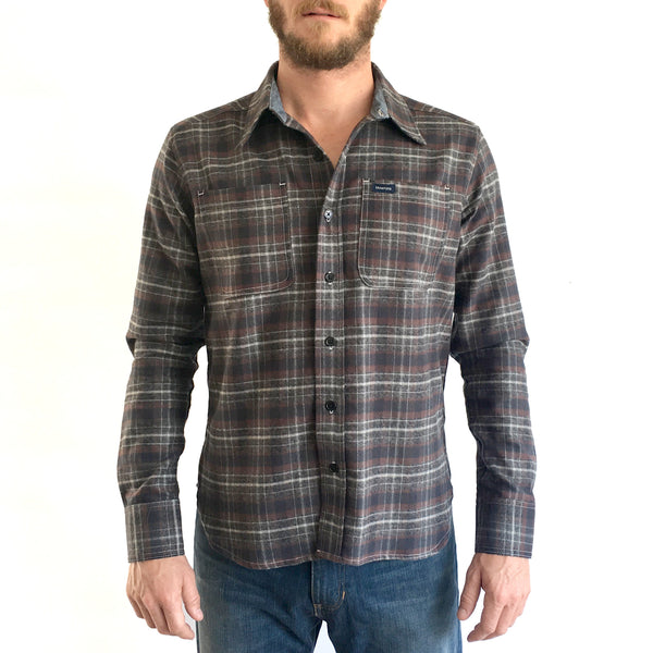 GREY PLAID FLANNEL L/S  SHIRT