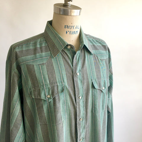 Vintage GREEN STRIPED WESTERN