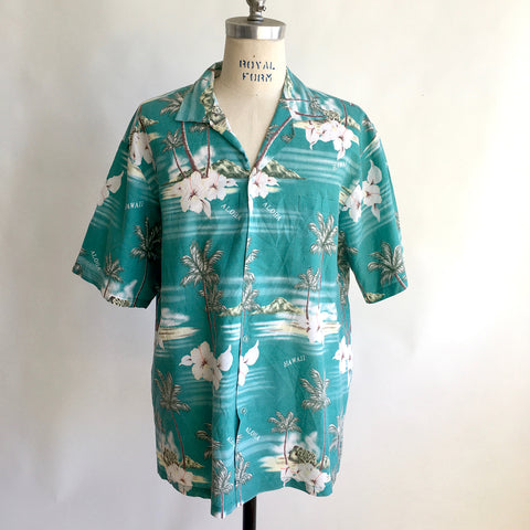 Vintage TEAL HAWAIIAN FLORAL Shirt