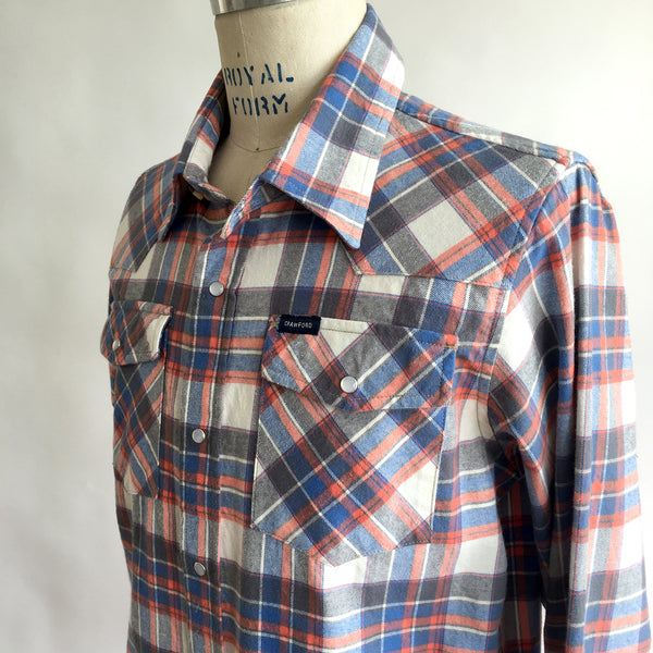 BLUE PLAID FLANNEL WESTERN