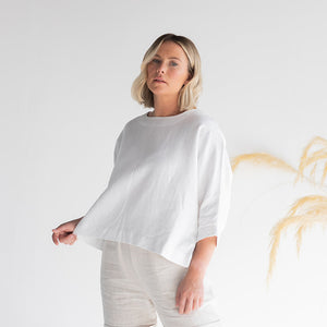 WHITE OVERSIZED LINEN TOP