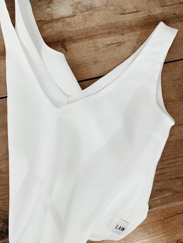100% white linen deep v vest top law design studio sustainable top