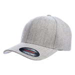Flexfit 6477. Premium Heather Grey Flexfit 6 Panel. Wool Blend.
