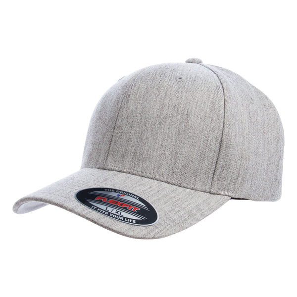 Premium Heather Grey Flexfit 6 Panel. Wool Blend. 6477