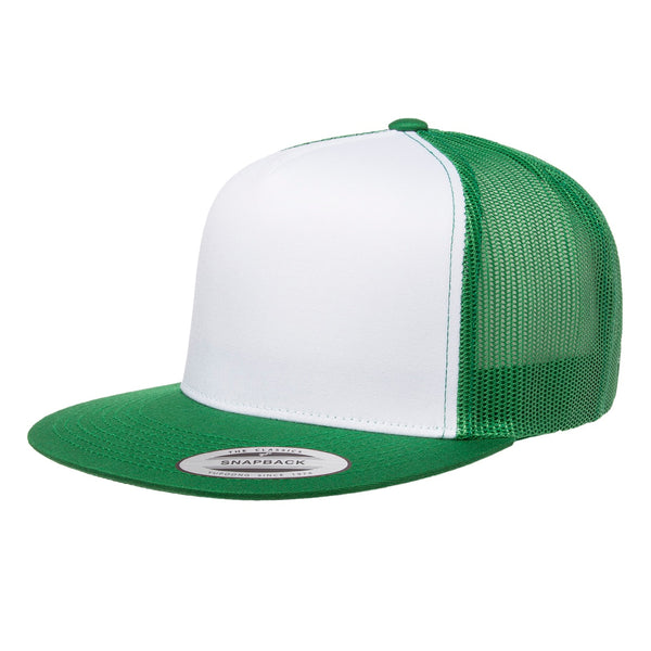 Yupoong 6006. Kelly/White/Kelly Classic Trucker Snapback