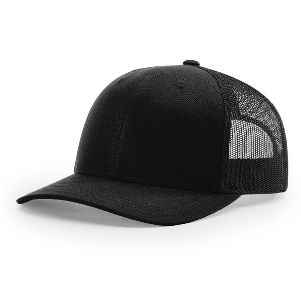 Black Richardson Trucker Snapback 112. 6 Panel.