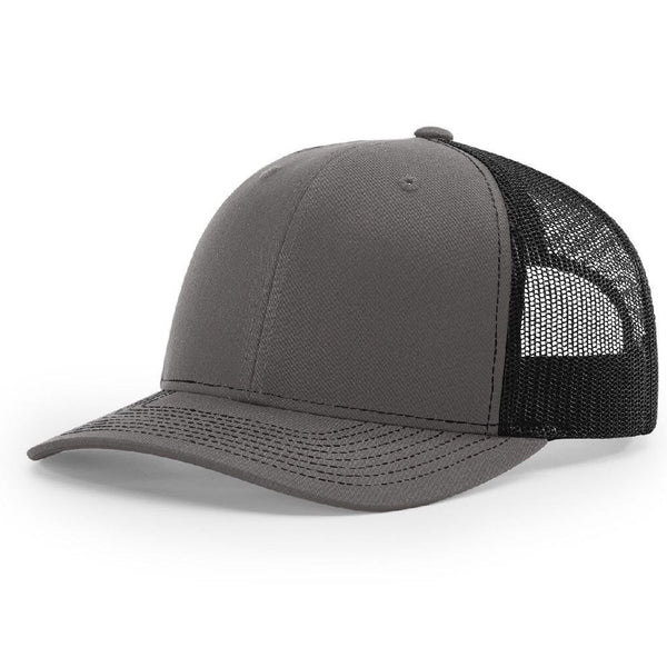 Charcoal/Black Richardson Trucker Snapback 112. 6 Panel.