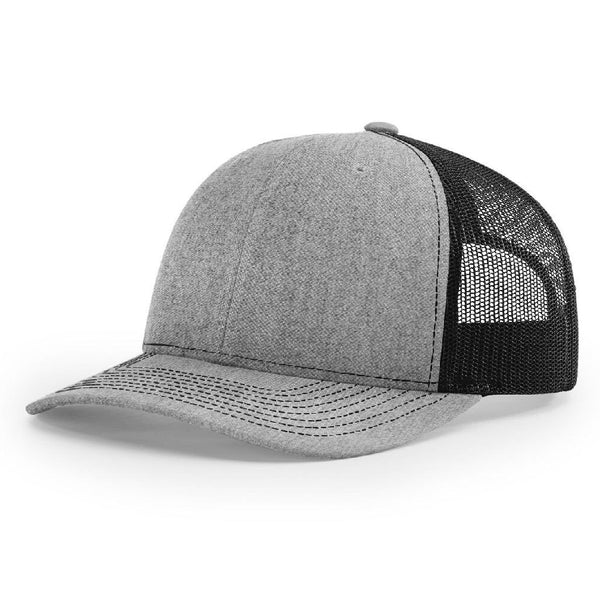 Richardson 112 Heather Gray/Black Trucker Snapback.