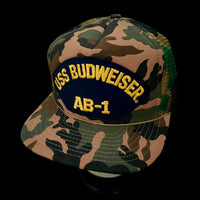 USS BUDWEISER - AB-1. Brown/Tan Vintage Patch + NOS Designer Award Headwear Foam/Camo Trucker Snapback