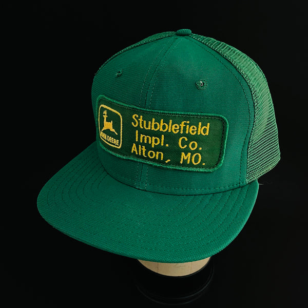 John Deere. Stubblefield Impl. Co. Alton, MO. Vintage Patch + New Era Dupont Visor Trucker