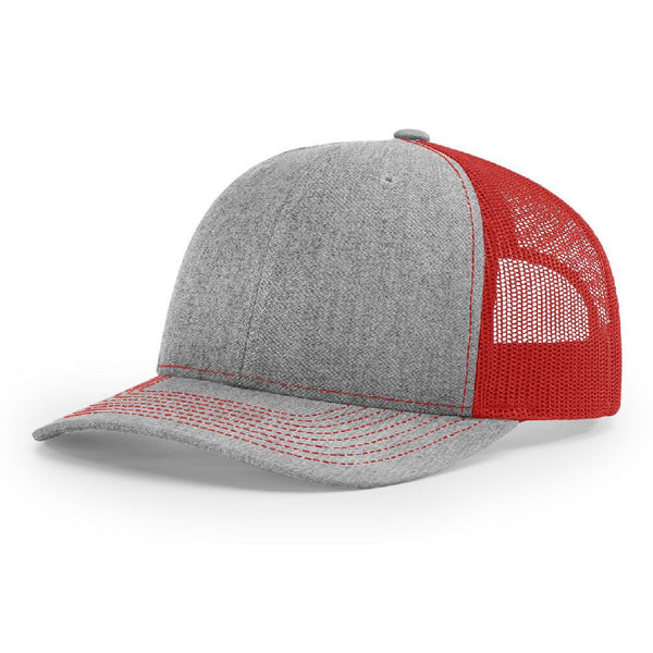 112 Heather Gray/Red Richardson Trucker Snapback