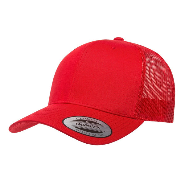 Yupoong 6606. Red Retro Trucker Snapback. 6 Panel