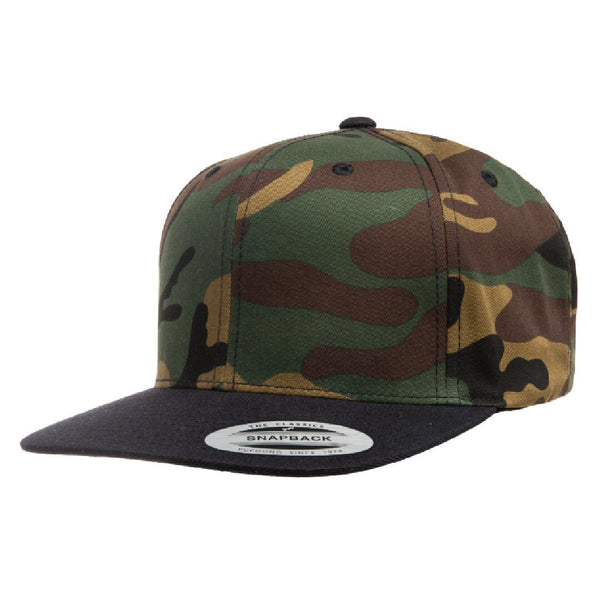 Flexfit 6089 Green Camo Crown/Black Visor. Classic Snapback
