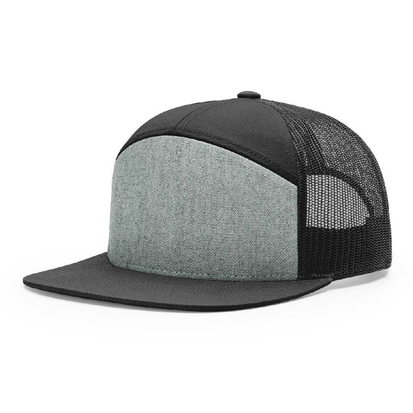 168 Heather Grey/Black Richardson Hi-Pro 7-Panel Trucker Snapback