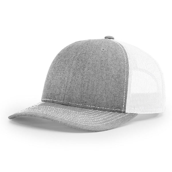 112 Heather Gray/White Richardson Trucker Snapback
