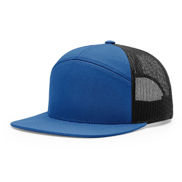 168 Royal/Black Richardson Hi-Pro 7-Panel Trucker Snapback