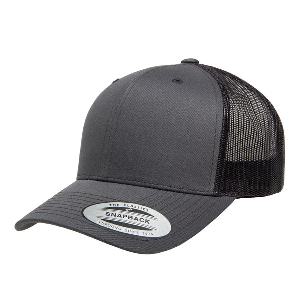 Yupoong 6606. Charcoal Retro Trucker Snapback. 6 Panel.