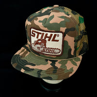 Stihl Chainsaw Brown/Tan Vintage Patch + NOS Designer Award Headwear Foam/Camo Trucker Snapback