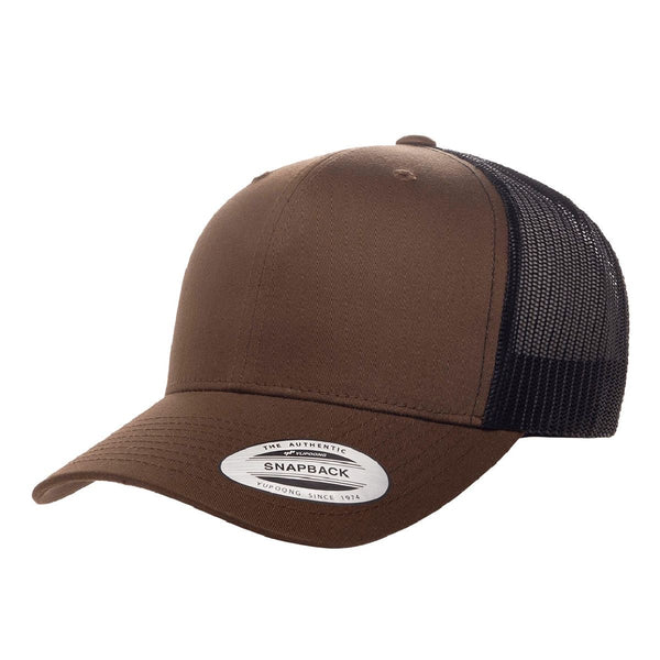 Yupoong 6606. Coyote Brown/Black Retro Trucker Snapback. 6 Panel