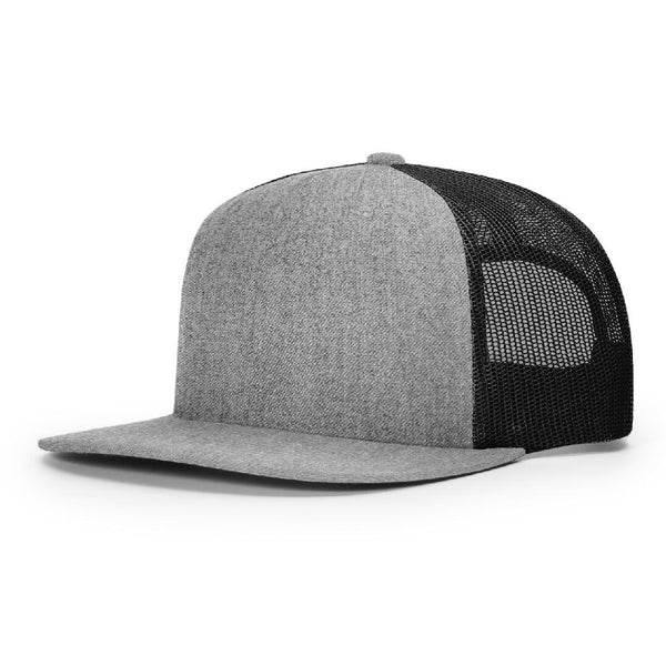 Richardson 511 Heather Grey/Black Classic Wool Trucker Snapback.