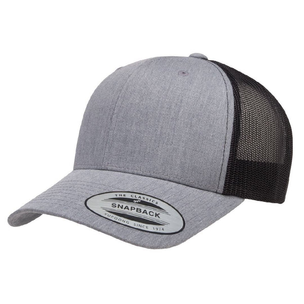 Yupoong 6606. Heather Gray/Black Retro Trucker Snapback
