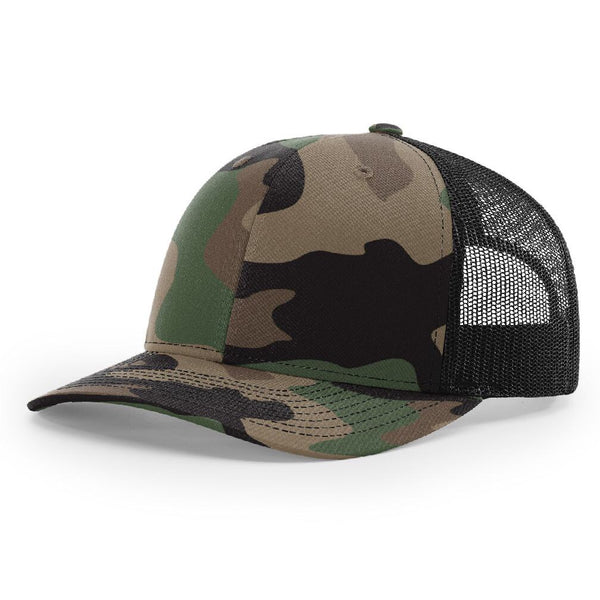 Camo/Black Richardson Trucker Snapback 112. 6 Panel.