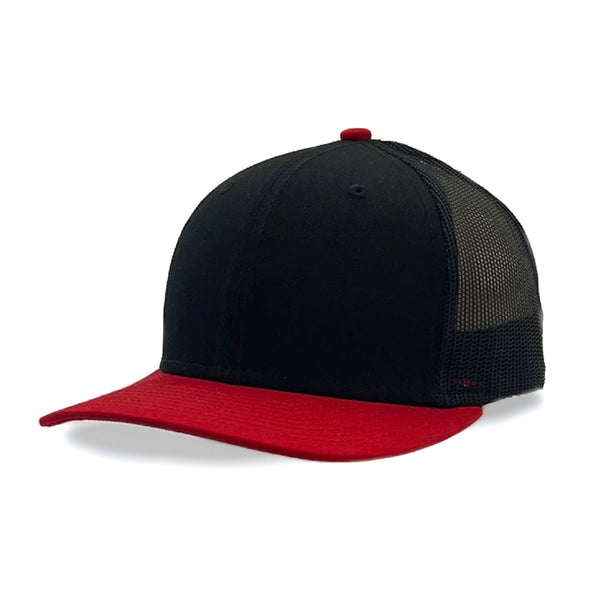 New Era 9FIFTY Low Profile Trucker Black/Scarlet Mesh Snapback