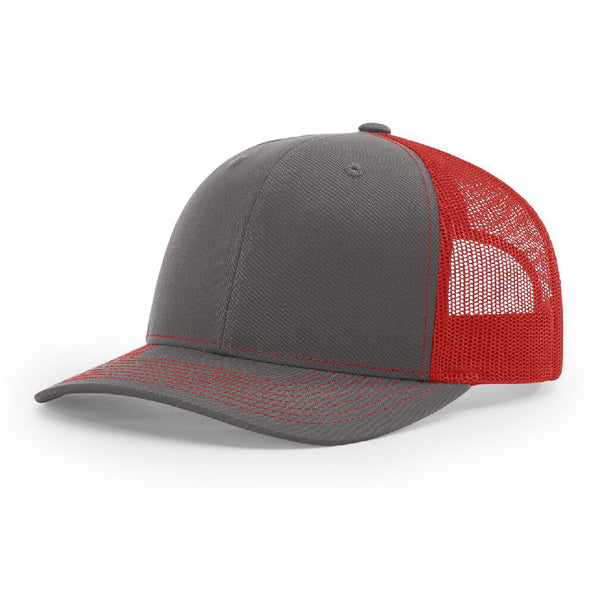 112 Charcoal/Red Richardson Trucker Snapback