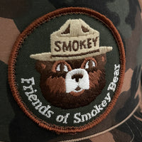 Smokey Bear Vintage Patch + NOS Designer Award Headwear Foam/Camo Trucker Snapback