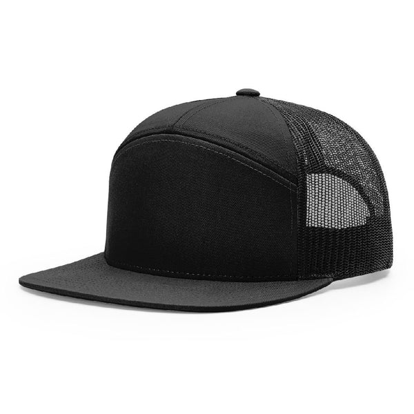 *New Addition* 168 Black Richardson Hi-Pro 7-Panel Trucker Snapback