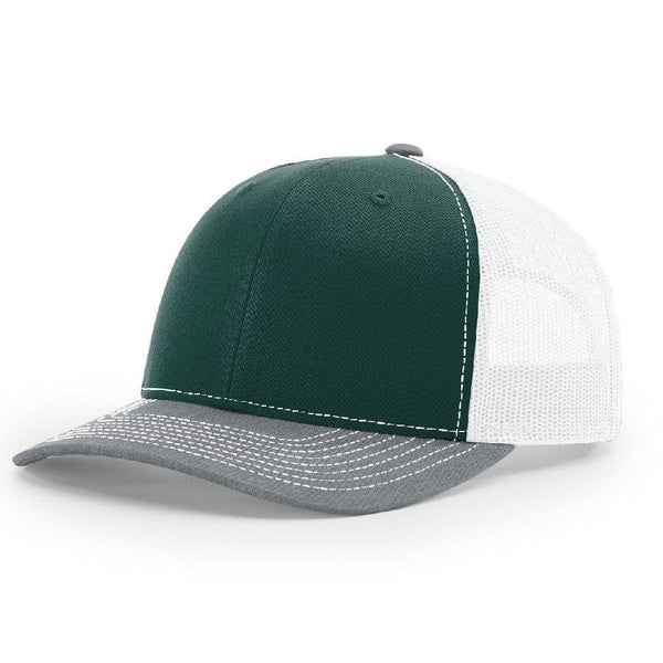 Richardson 112 Dark Green/White/Heather Gray - Trucker Snapback