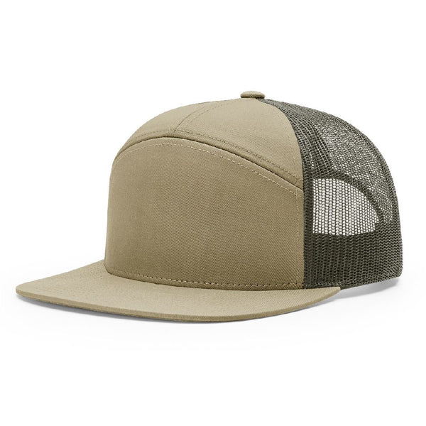 Richardson 168 Pale Khaki/Loden Green Hi-Pro 7-Panel Trucker Snapback.