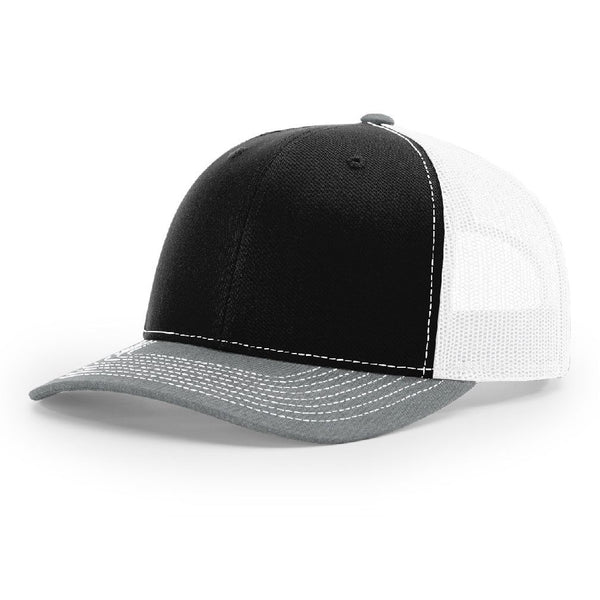 Richardson 112 Black/White/Heather Gray - Trucker Snapback