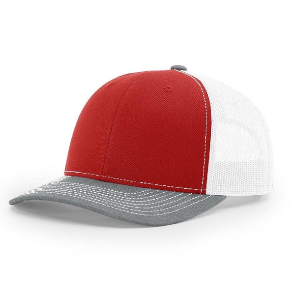Richardson 112 Red/White/Heather Grey - Trucker Snapback