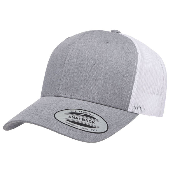 Yupoong 6606. Heather Gray/White Retro Trucker Snapback