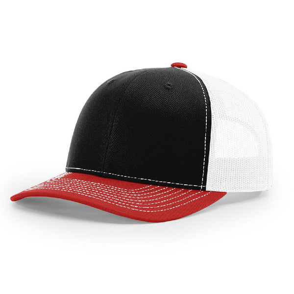 Richardson 112 Black/White/Red Trucker Snapback