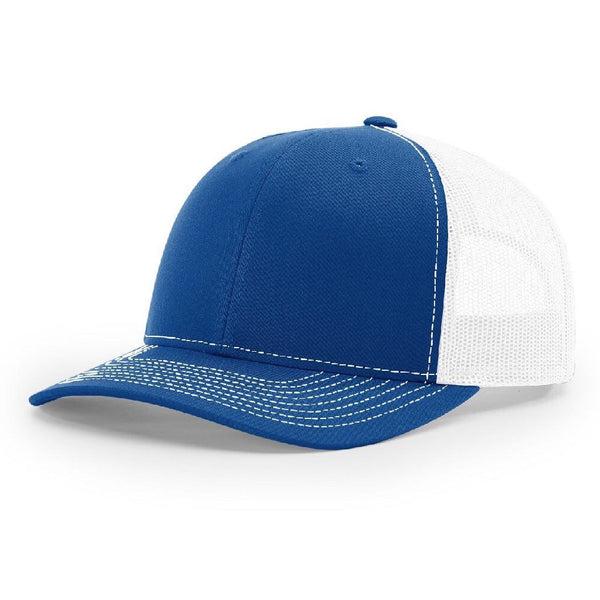 Royal/White Richardson Trucker Snapback 112. 6 Panel.