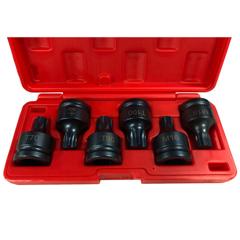 "Torx Star & Spline Impact Socket Set (Dr 3/4"", 6 PCS)"