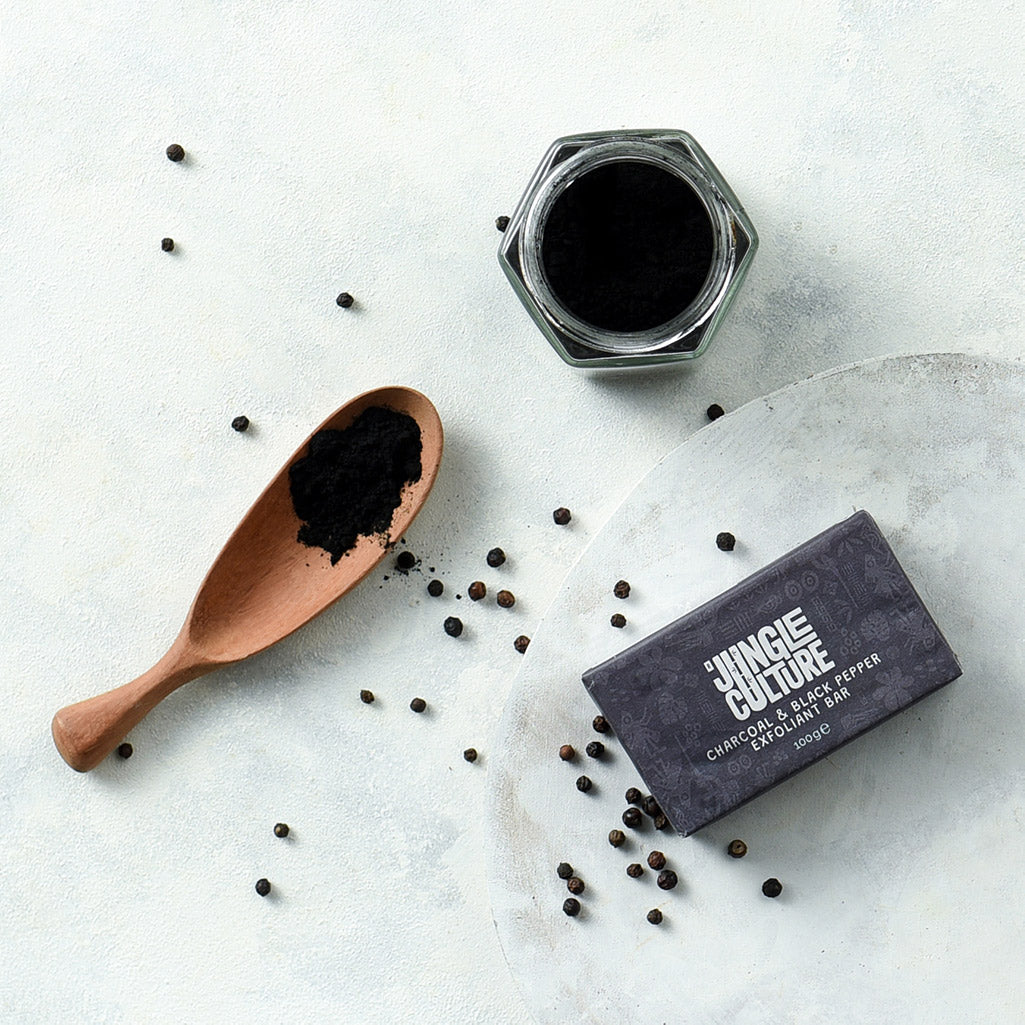 Charcoal Black Pepper Exfoliant Bar Jungle Culture