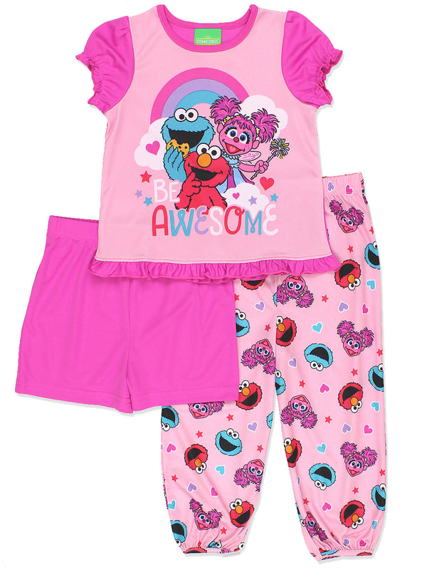 Sesame Street Toddler Girls 3 piece Shorts Pajamas Set