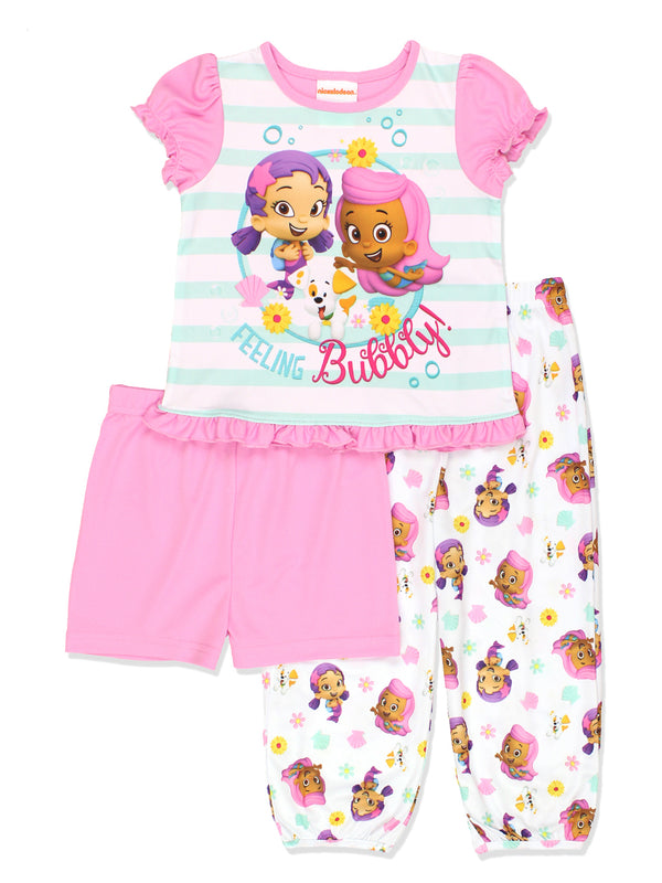 Bubble Guppies Toddler Girls 3 piece Shorts Pajamas Set