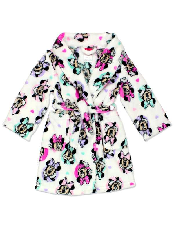 Minnie Mouse Girl's Plush Fleece Bathrobe Robe (Toddler/Little Kid/Big Kid)