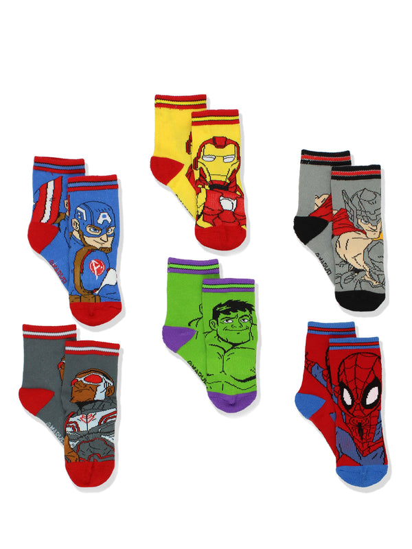 Super Hero Adventures Spider-Man Boys 6 pack Athletic Crew Socks (Baby/Toddler)